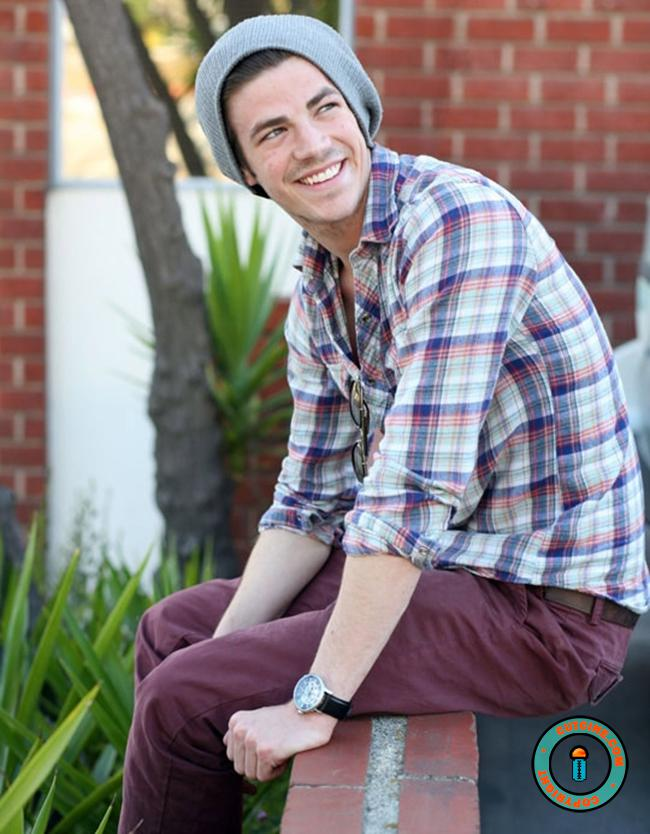 Grant Gustin in Check Shirt